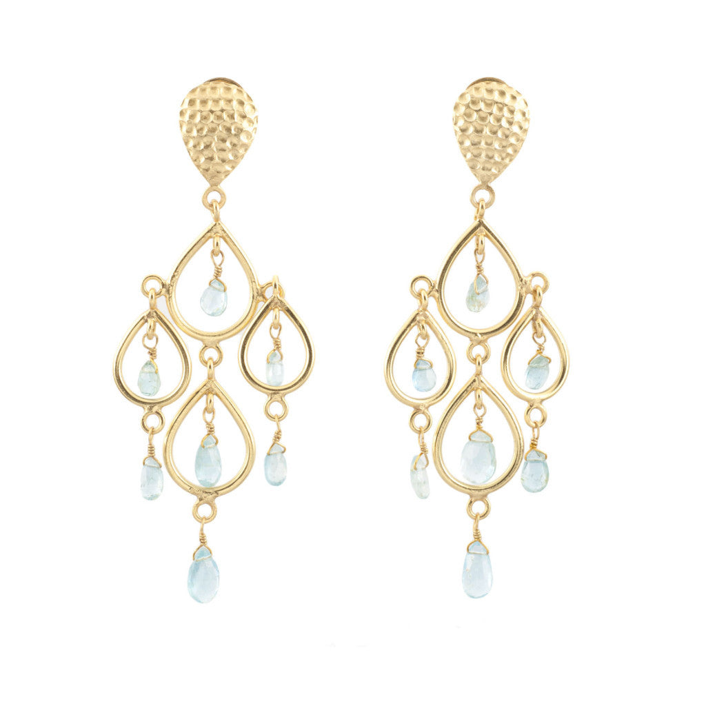 Aquamarine Teardrops Chandelier Earrings