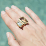 Aquamarine Smoky Quartz Wrap Ring
