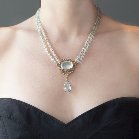 Aquamarine Black Diamond Carcanet Necklace