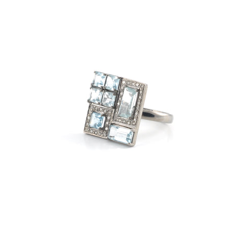Aquamarine Diamond Rhodium Cocktail Ring