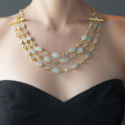 Aquamarine Green Amethyst Bib Necklace
