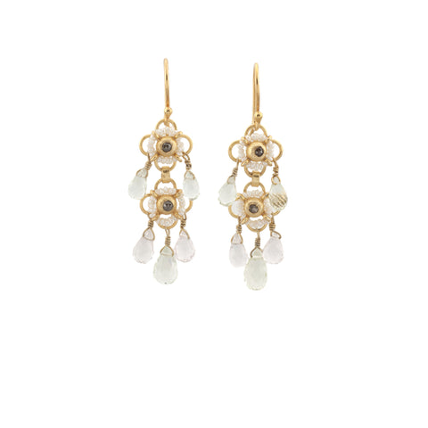 Aquamarine Pearl Diamond Earring
