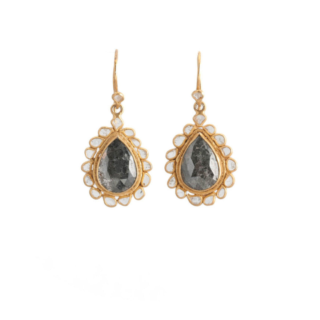 Black Diamond Center Surrounded by Sliced Diamonds Earrings