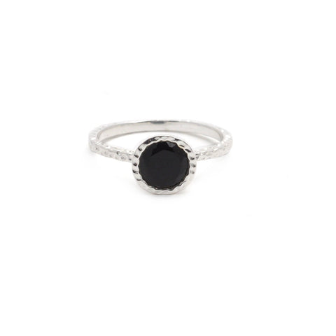 Black Onyx Silver Hammered Ring
