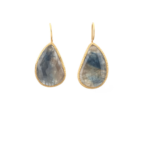 Blue Sapphire Hammered Border Drop Earring