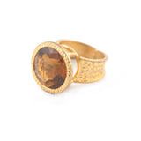 Madeira Quartz Hammered Band Adjustable Ring