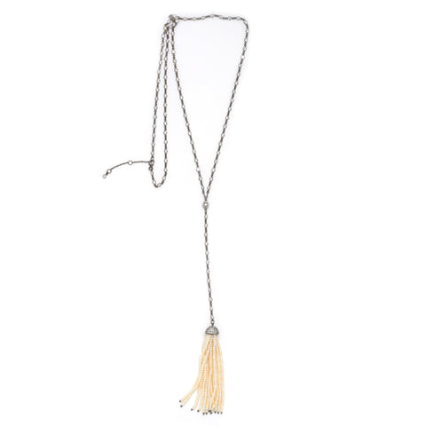 Long CZ Pearl Tassel Necklace