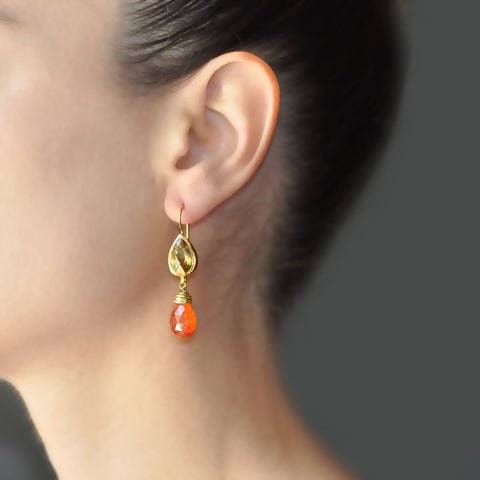 Citrine Carnelian Earrings