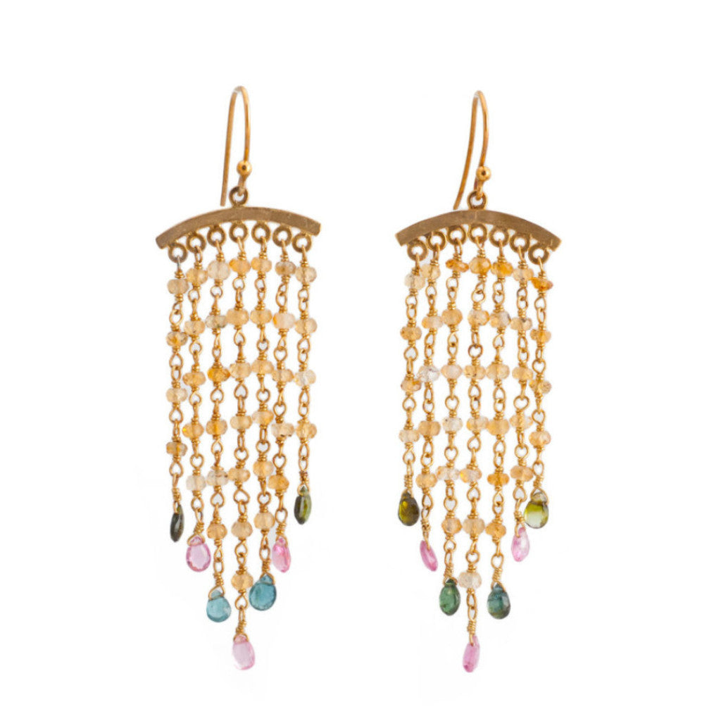 Citrine Tourmaline Arched Chandelier Hand Wrapped 7 Chains Earrings
