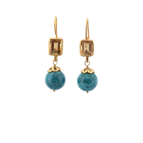 Citrine Turquoise Earrings
