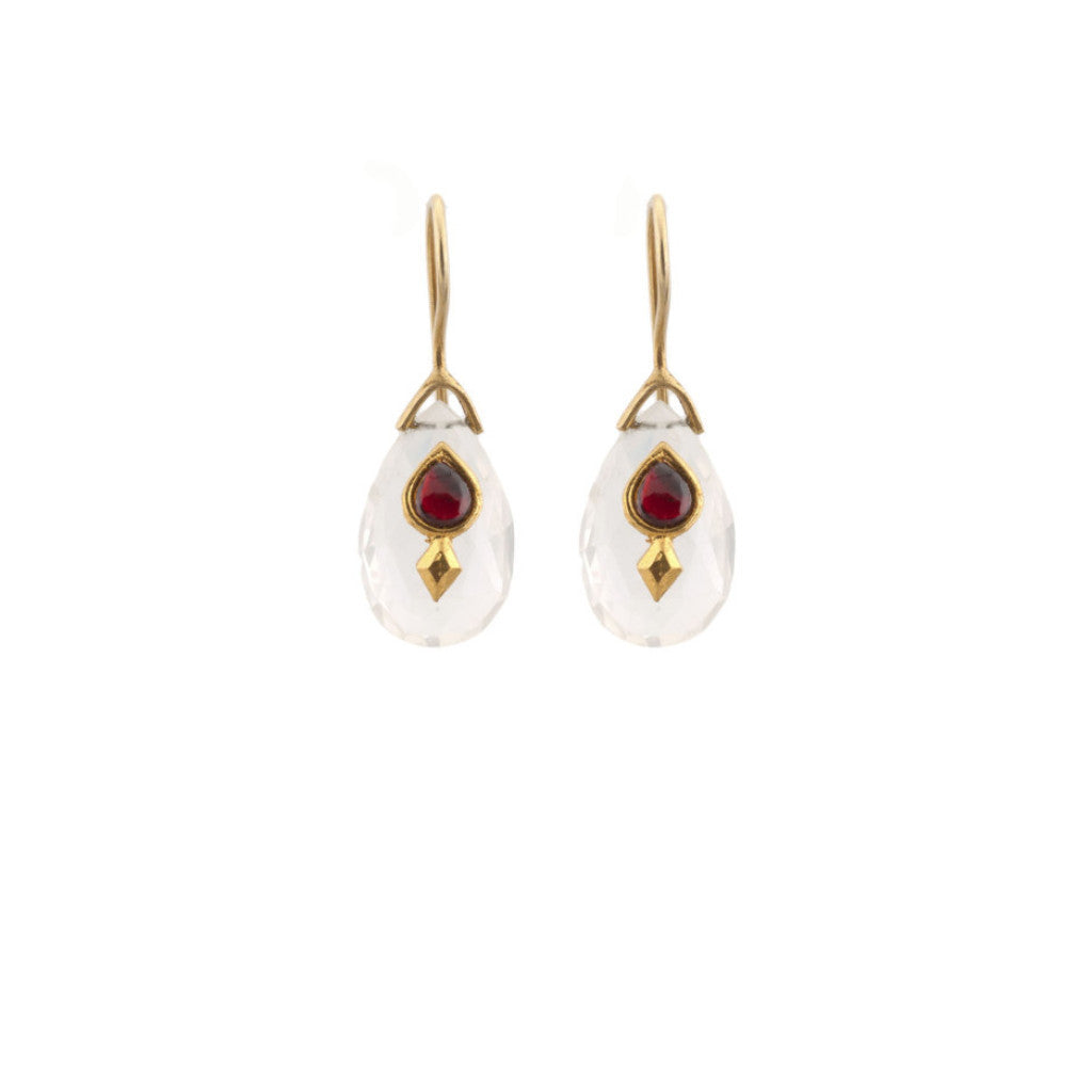 Crystal Briolette Red Glass Earring