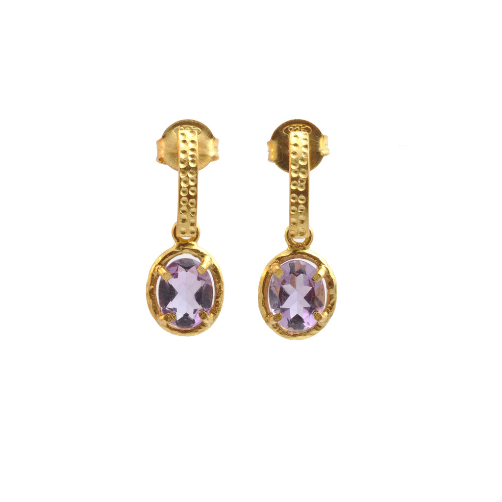 Amethyst Oval Curved Bar Drops