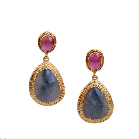 Double Hammered Ruby Sapphire Post Earring