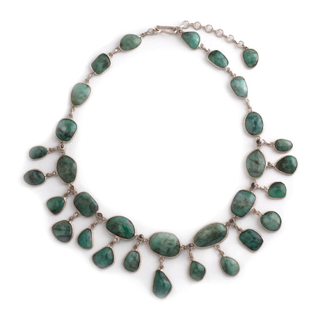 Emerald Black Diamond Necklace