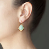 Emerald Rose Cut Hammered Earring