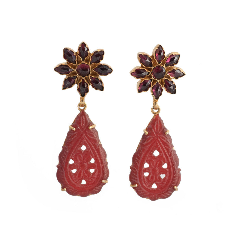 Garnet Flower Carved Agate Earrings