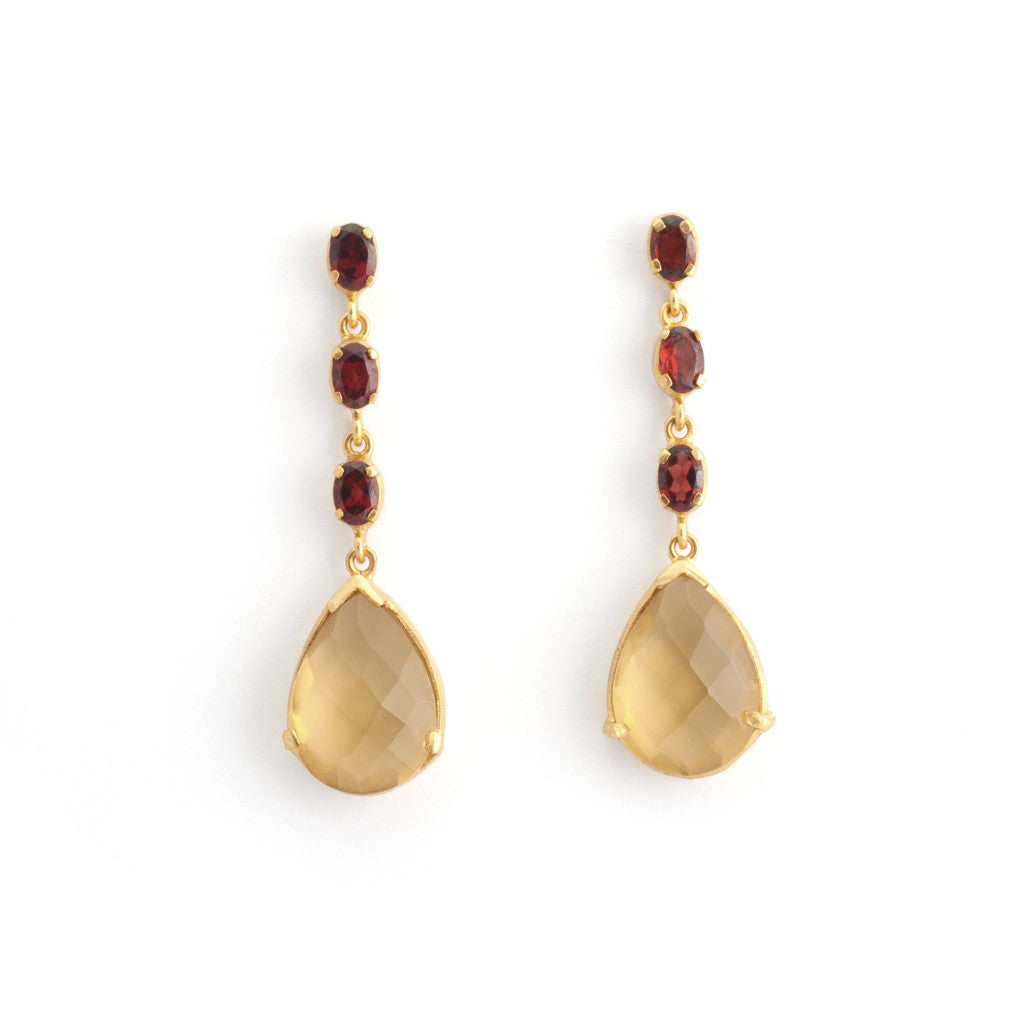 Garnet Ovals Citrine Dangle Earrings