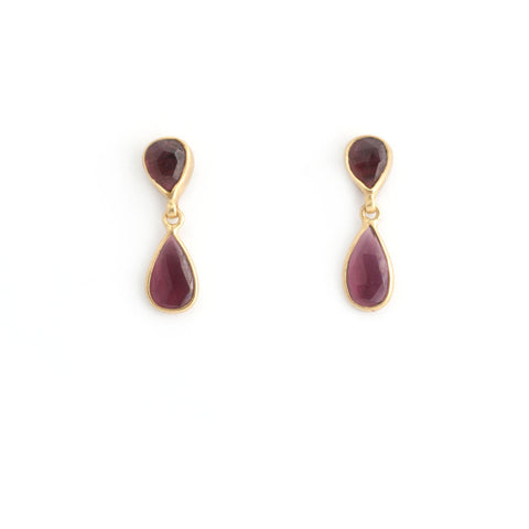 Garnet Double Teardrops Earrings