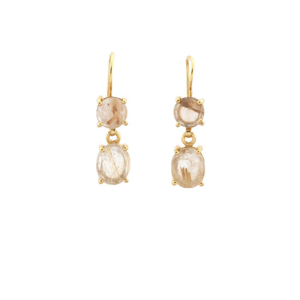 Golden Rutillated Quartz Claw Prong Earring