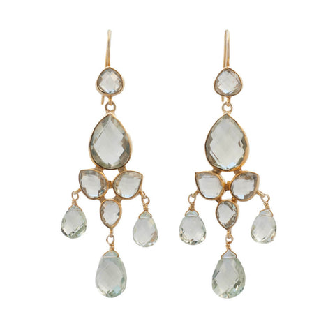 Green Amethyst Chandelier Earrings
