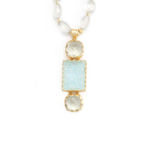 Green Amethyst Carved Blue Stone Pendant Necklace
