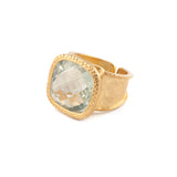 Green Amethyst Hammered Band Adjustable Ring