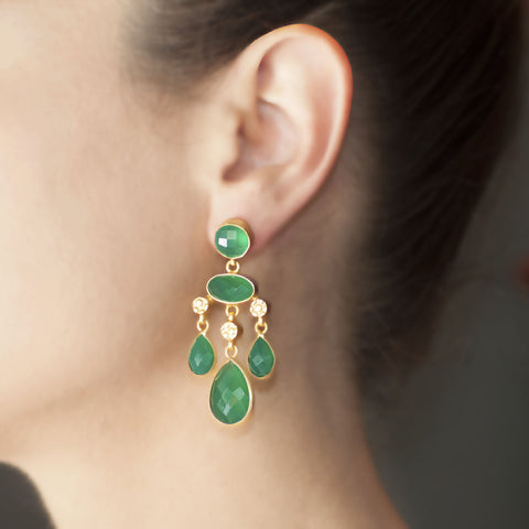 Green Amethyst Mughal Earrings