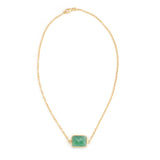 Green Onyx Rectangle Chain Necklace