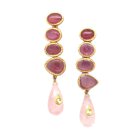 Ruby Rose Quartz Hammered Setting Drop Earrings
