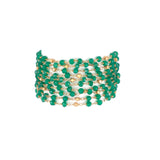 Multi Chain Hand Wrapped Green Onyx Clasp Bracelet