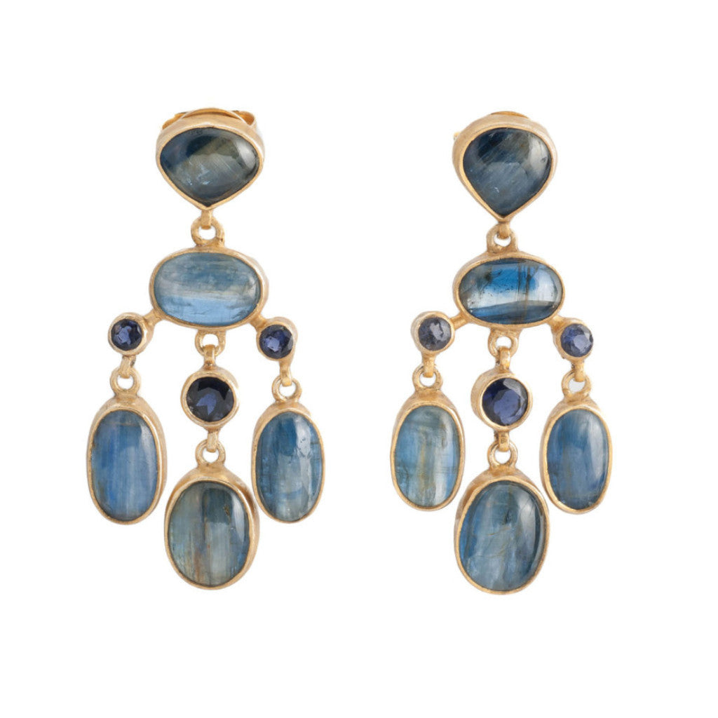 Kyanite Iolite Chandelier Earring