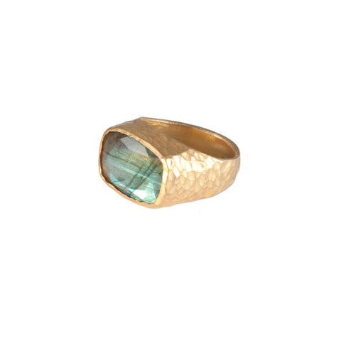 Labradorite Hammered Band Ring