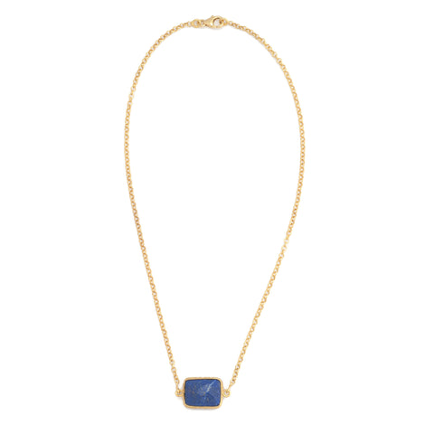 Lapis Rectangle Chain Necklace