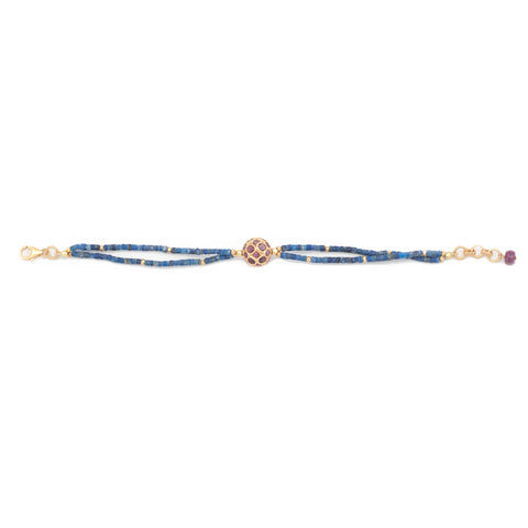 Lapis Ruby Center Bead Bracelet