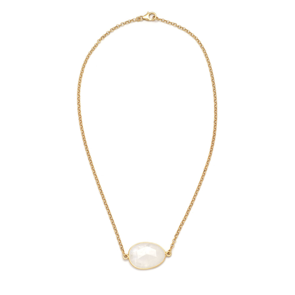 Rainbow Moonstone Oblong Chain Necklace