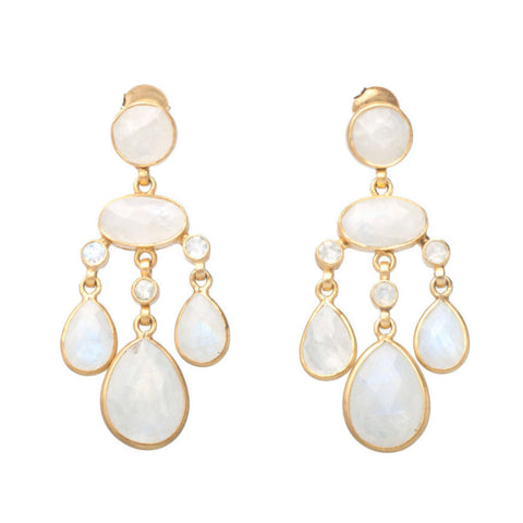 Rainbow Moonstone Chandelier Earring