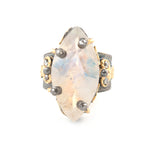 Moonstone Black Diamond Prong Adjustable Ring