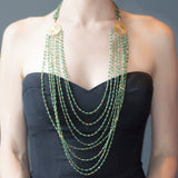 Green Onyx Filigree Flower 8 Strand Necklace