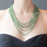 Green Onyx Multi Strand Hand Wrapped Clasp Necklace