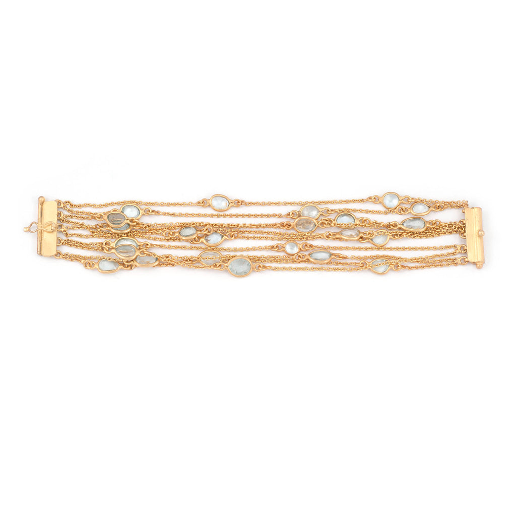 Aquamarine Multi Chain Layered Bracelet