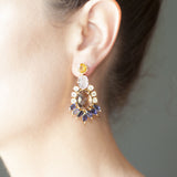 Citrine Rose Quartz Smoky Quartz Aquamarine Iolite Chandelier Earring