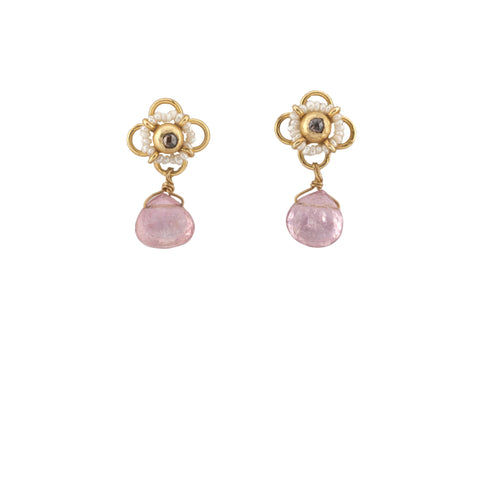 Diamond Pearl Post Pink Tourmaline Briolette Drop Earring