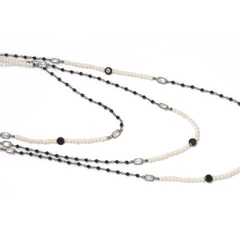 Layered Pearl and Black Onyx Necklace