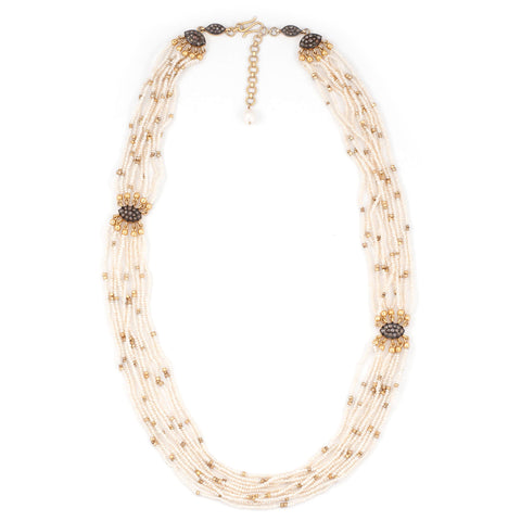 Multi Chain Pearl Black Diamond Necklace