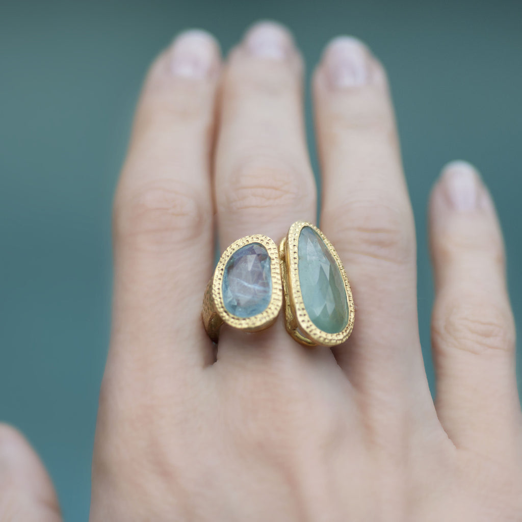 Aquamarine Oblong Prehnite Hammered Band Ring