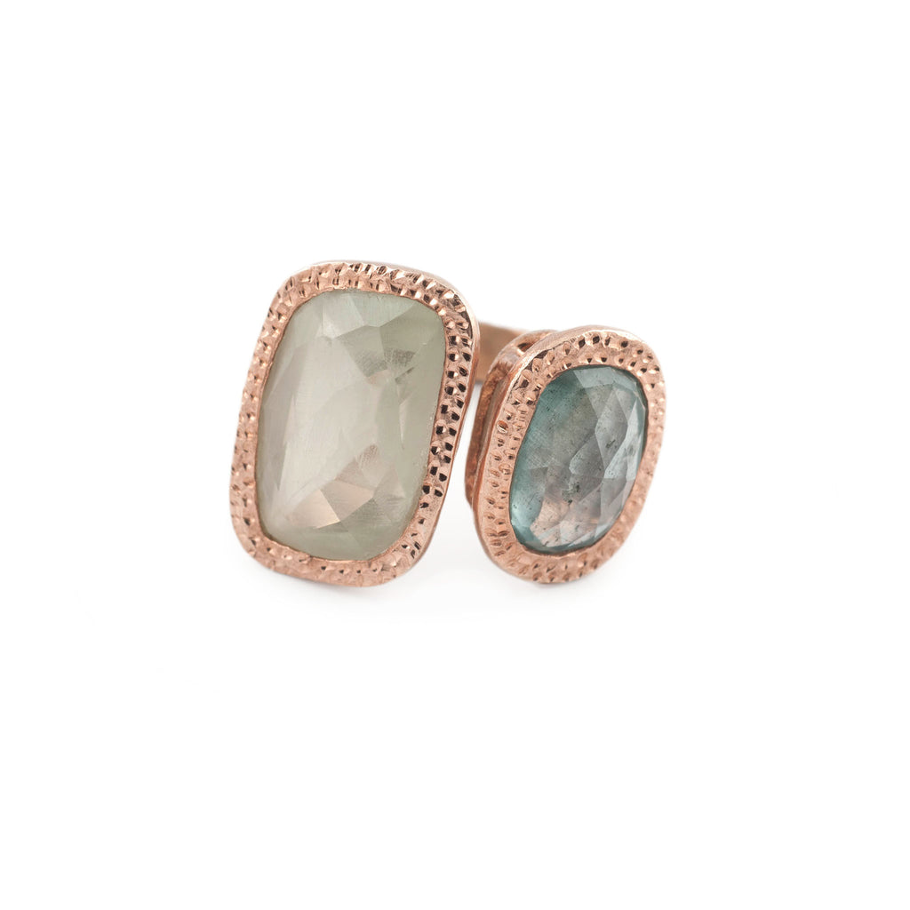 Aquamarine and Prehnite Wrap Up Ring