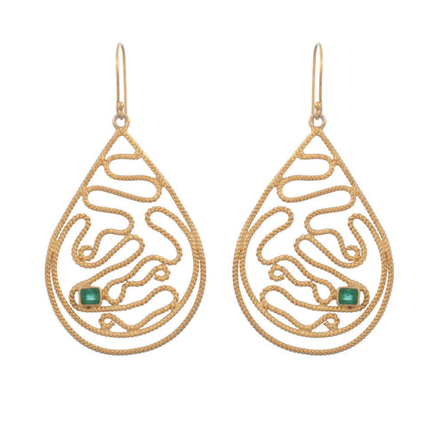 Emerald Rope Teardrop Earring