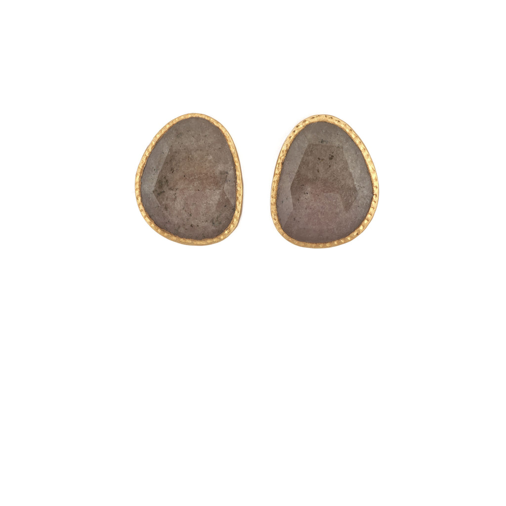 Yellow Sapphire Rose Cut Hammered Earring Post