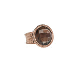 Smoky Quartz Hammered Band Adjustable Ring