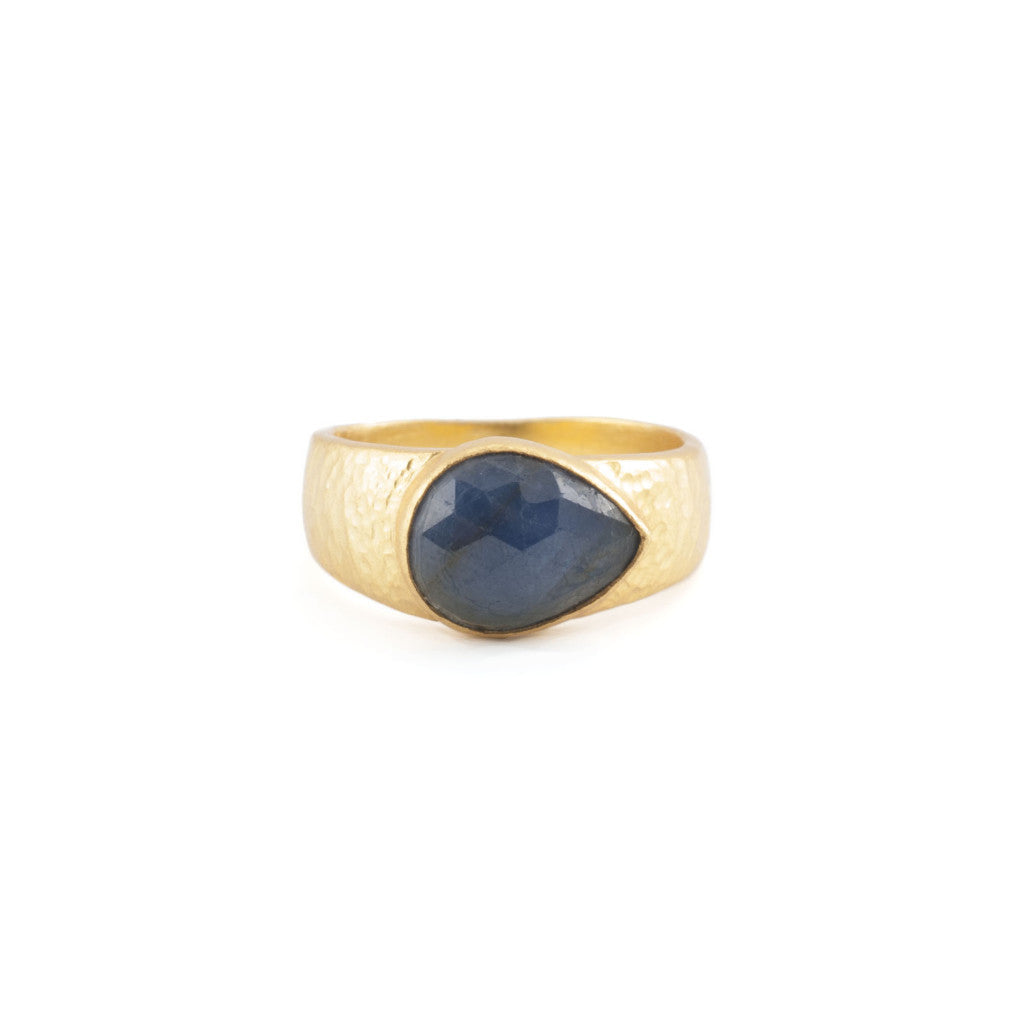 Blue Sapphire Teardrop Hammered Band Ring
